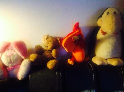 Pink bunny, bear, phoenix, penguin