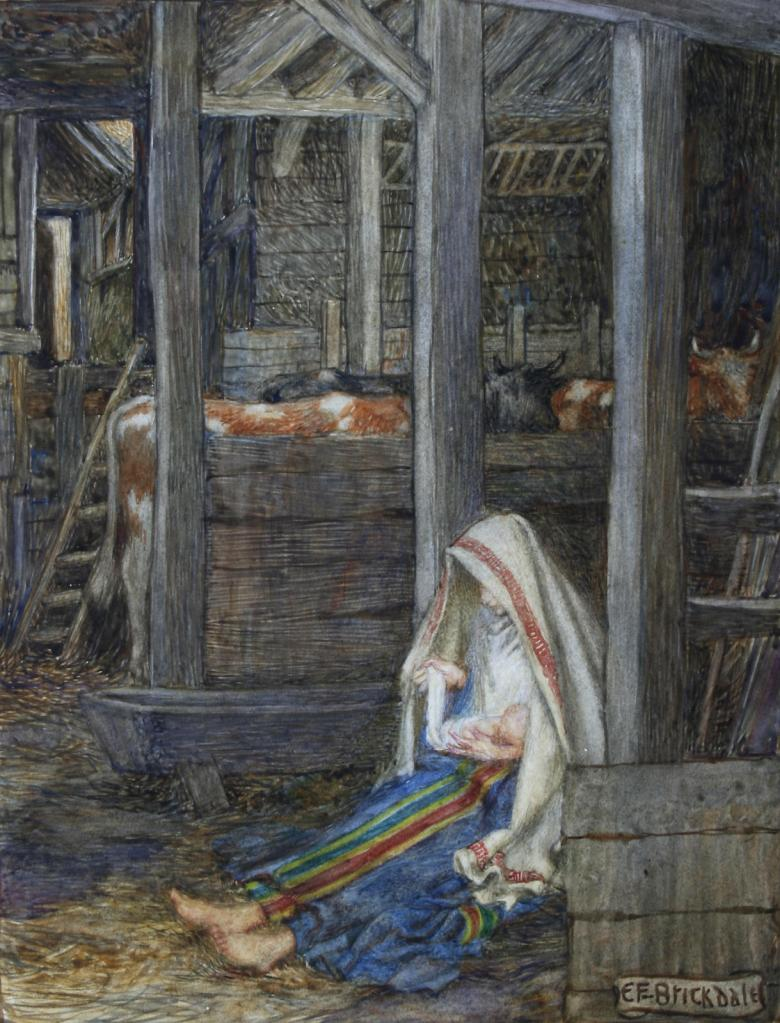 A woman and an infant in the foreground of a stable.
